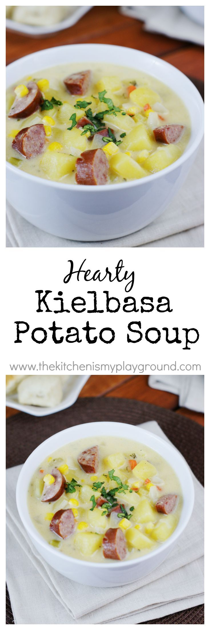 Hearty Kielbasa Potato Soup ~ loaded with flavor, creamy, comforting, & satisfying! www.thekitchenismyplayground.com