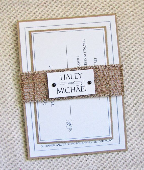 Rustic Burlap Belly Modern Country Wedding Invitation on Etsy, $98.28