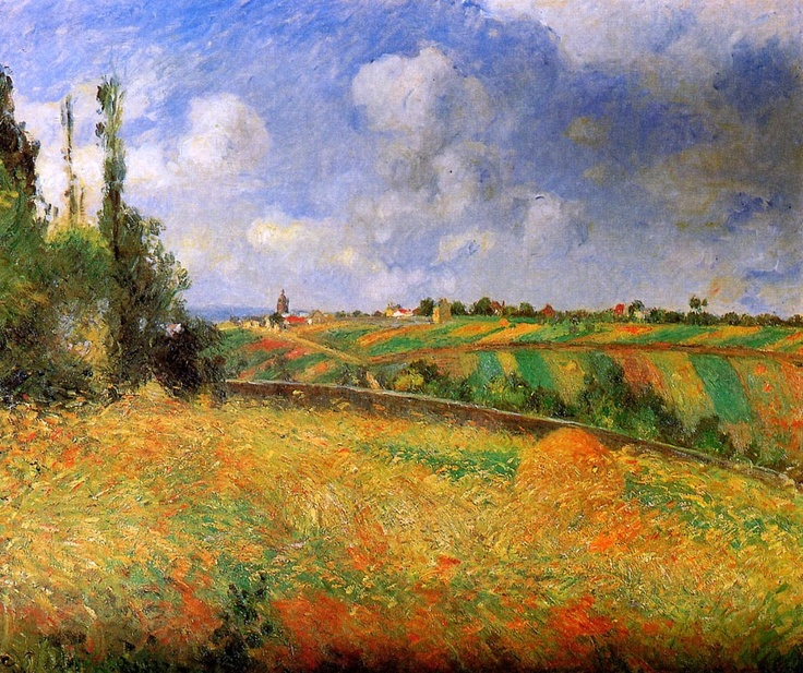 Camille Pissarro (French, Impressionism, 1830-1903): Fields (Les seigles Pontoise), 1877. Oil on canvas. Private Collection.