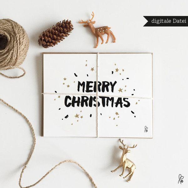 """Weihnachtskarten - Grußkarte """"MERRY CHRISTMAS"""" / PRINTABLE A6 - ein…"""
