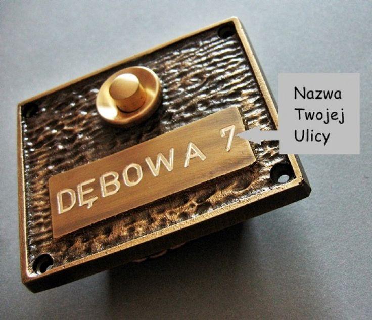 Mosiężna wizytówka z grawerem + Przycisk dzwonkowy
