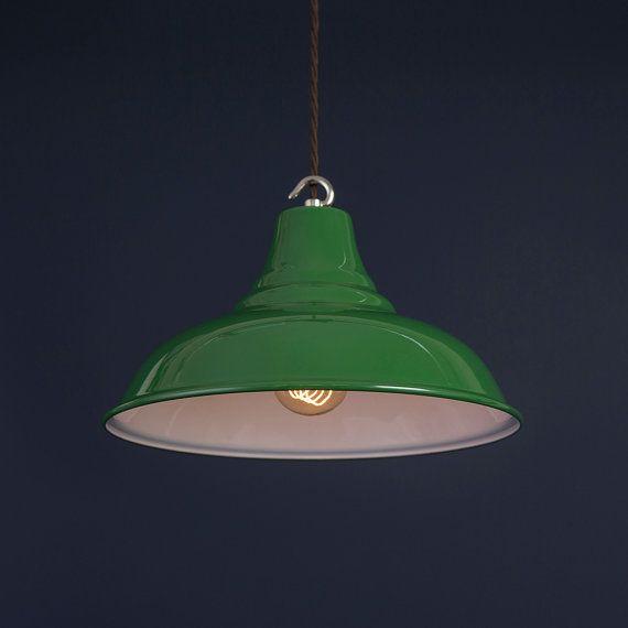 Alfie Green Vitreous Enamel Pendant Light Hanging Light
