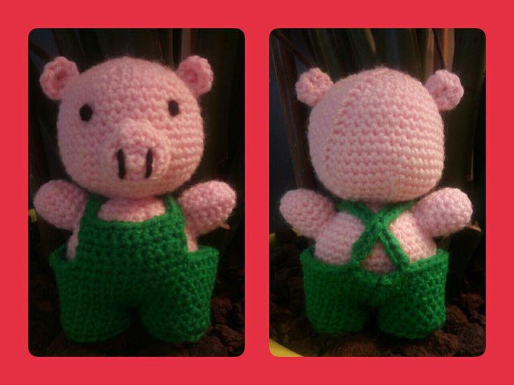 Léon le cochon - Amigurumi au crochet Crocheté en 3,5 en laine 100% acrylique