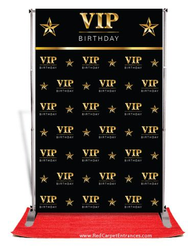 VIP Birthday Backdrop Red Carpet Kit - Black 5x8
