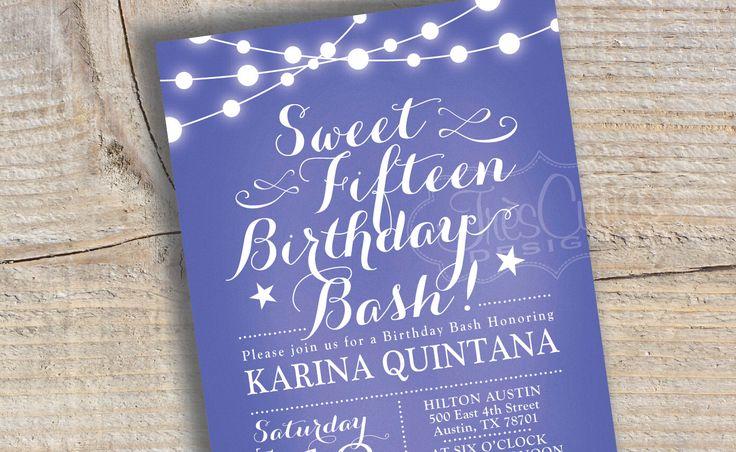 Sweet 15 Invitation - Quinceanera Invitation - Chalkboard - Purple Invitation - Printable - 16 birthday invitation by TresCutiesDesigns on Etsy https://www.etsy.com/listing/193488668/sweet-15-invitation-quinceanera