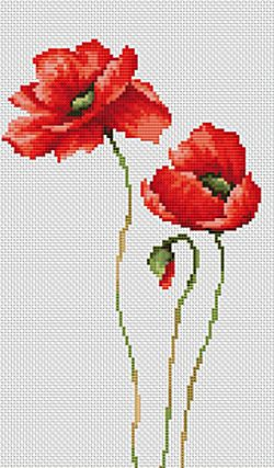 Three Poppies Cross Stitch Kit By Luca S