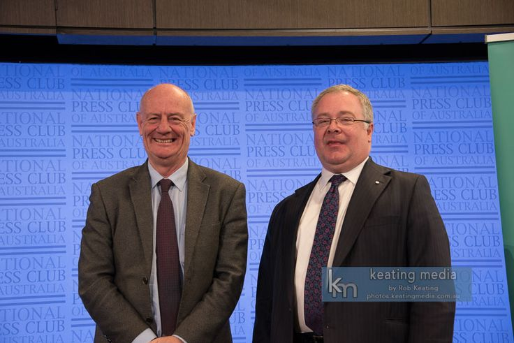 Photo of Tim Costello and Peter Jennings before they gave an address at the National Press Club of Australia #cbrwritersfest