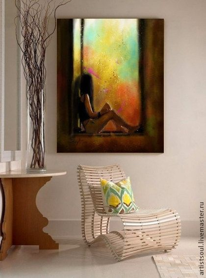 Decorative Arts Yellow Night Oil Painting Erotic Woman