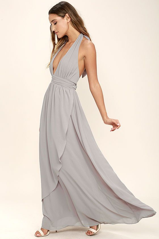 $26 Lulus Exclusive! You'll get looks everywhere you go in the Stop and Stare Light Grey Halter Maxi Dress! Lightweight chiffon shapes the plunging halter bodice with an open back, and tying neckline. A banded waist sits atop a full, wrapping maxi skirt. Hidden back zipper/clasp.