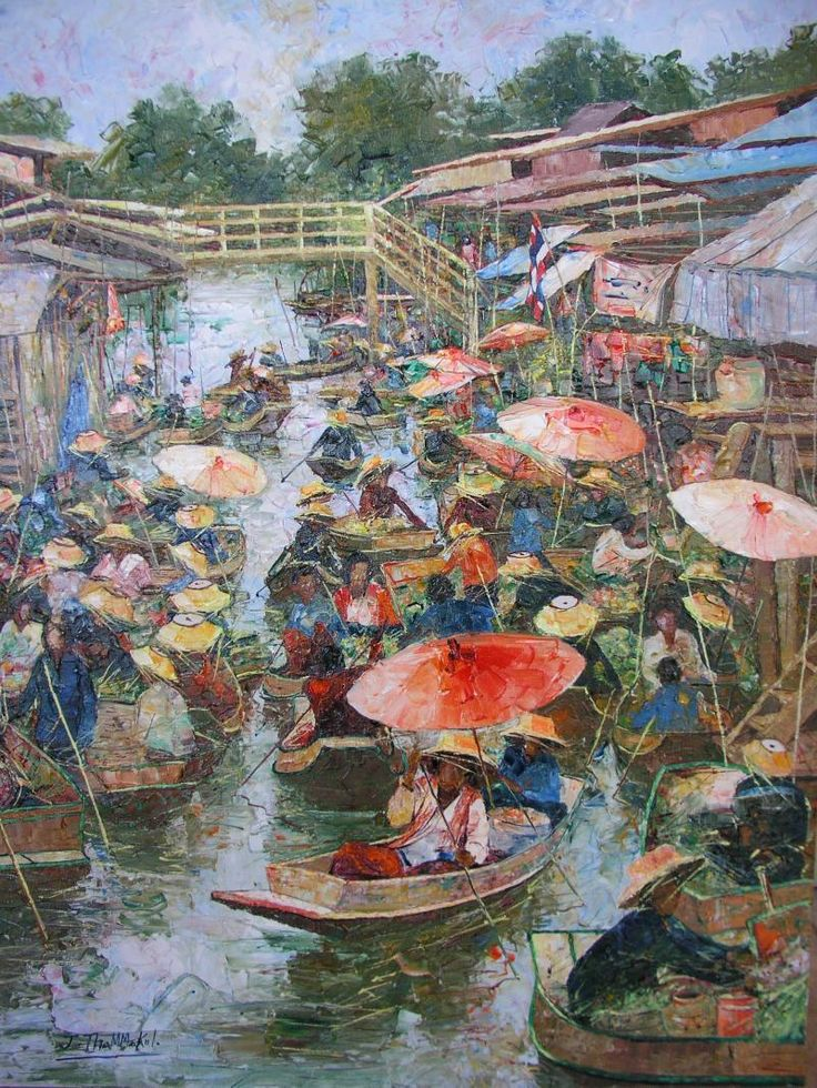 D Art Exhibition In Bangkok : Quot floating market by jarun thammakul thailand