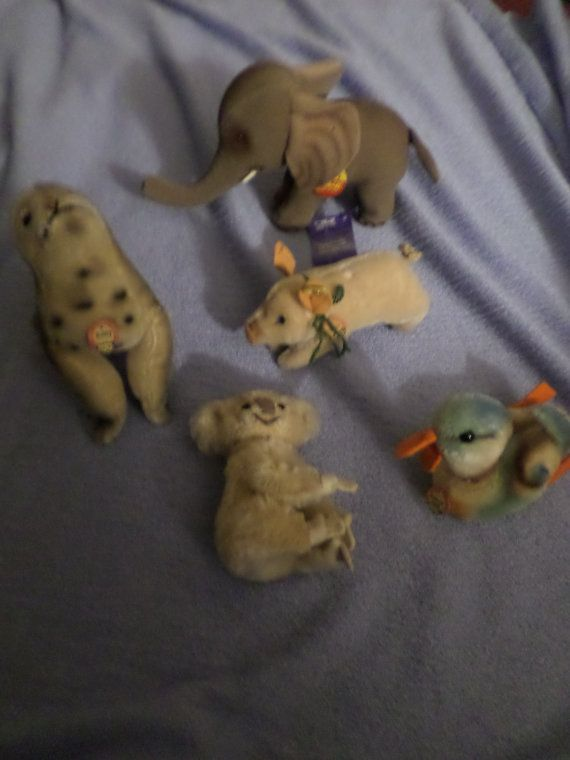Vintage Steiff plush lot of Flawed animals some have ear tag