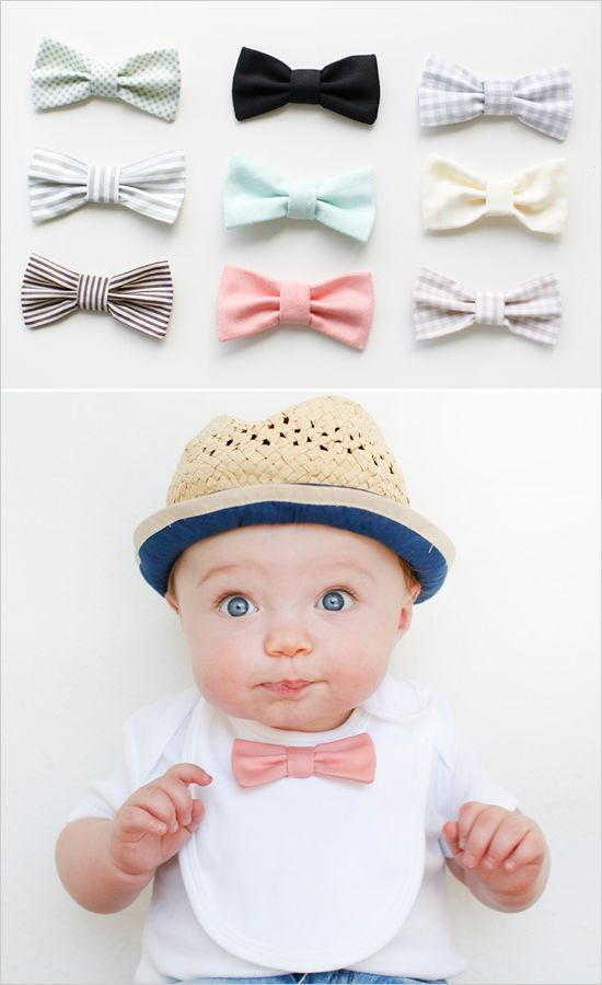 Bow tie bibs. Adorable tiny gentlemen!