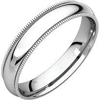 5 mm comfort fit gold wedding band with milgrain