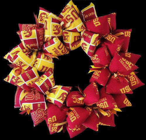 University of Southern California Trojans Handmade Fabric Team Wreath