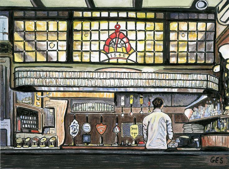 "Ye Olde Mitre Pub London. Ink & Acrylic on Paper 9"" x 7""."
