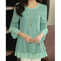 Loose Ruffled 3/4 Sleeve Round Collar Chiffon Splicing Women's Blouse