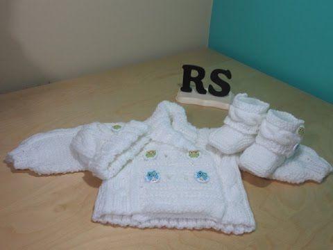Como tejer abrigo de trenzas para bebé recien nacido principiantes