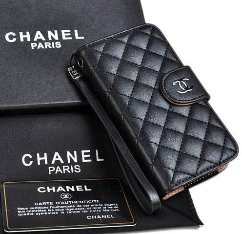 Cute Real Chanel iPhone 6 Case - iPhone 6 Plus Case - Nappa Leather Black - LeatheriPhone6Cases.com