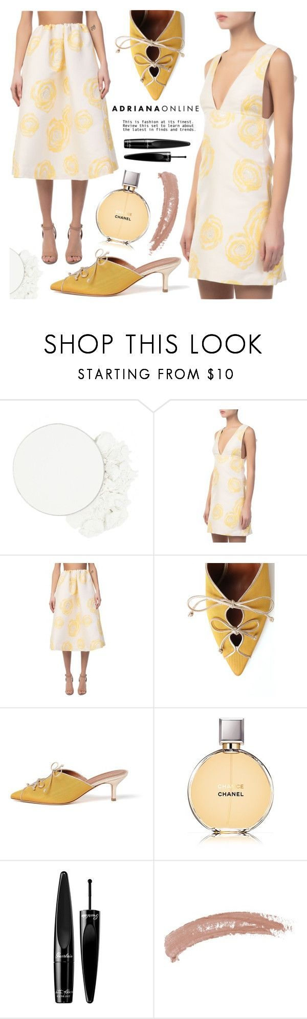 """ADRIANA ONLINE: White+Yellow"" by adrianaonline ❤ liked on Polyvore featuring ittse, Ganni, Malone Souliers, Chanel, Guerlain and Topshop"