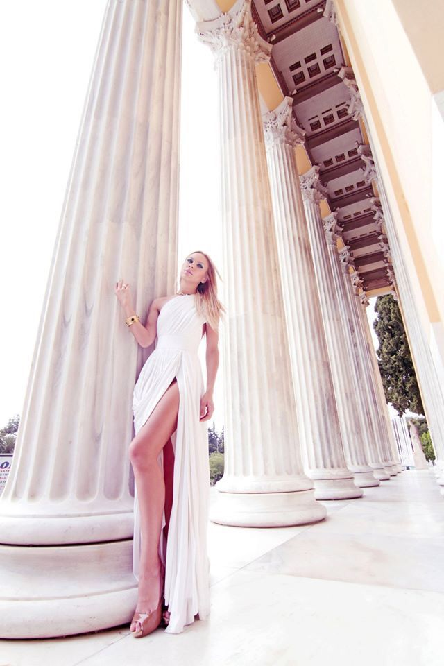 Silk white haute couture dress Konstantinos Melis by Laskos