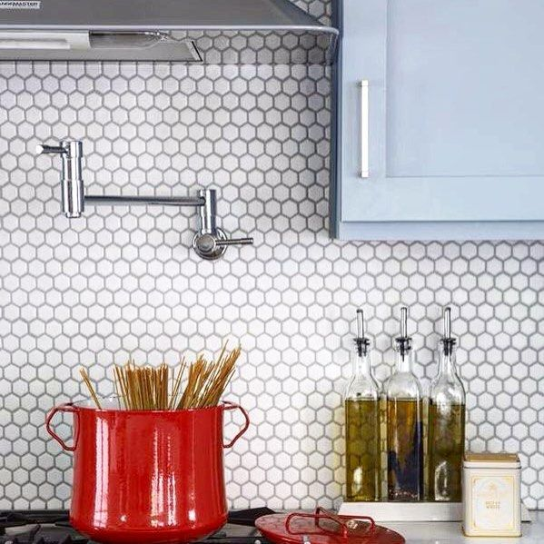 Amber Tiles Kellyville. Pinned from @ambertiles_yallah. on Instagram: White hexagon mosaics #splashback #hexagonmosaic #mosaic #ambertiles