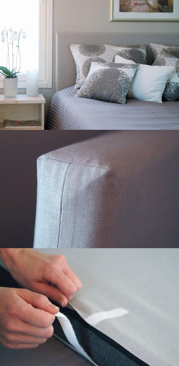 DIY Sängynpäädyn päällinen / Bed head cover // Makuuhuone saa ihanaa pehmeyttä sängynpäädyn verhoilulla. Kuvassa harmaa Pellavainen, josta ommeltiin tarranauhoin kiinnitettävä kangashuppu.