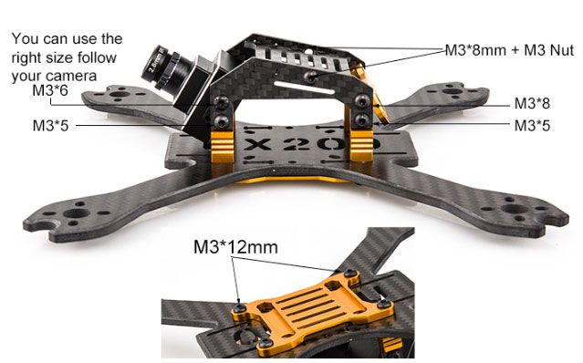 BeeRotor UX200 4mm Carbon Fiber Racing Drone Frame Kit