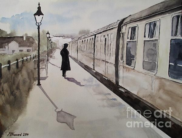 """Waiting At Williton (2014) #watercolour on 16"""" x 12"""" 140 lb Daler-Rowney Langton fine grain paper. #Somerset #impressionist #railway #painting"""