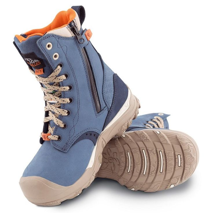 Women's steel toe work boots. Waterproof, CSA approved, Slip resistant. Blue colour.