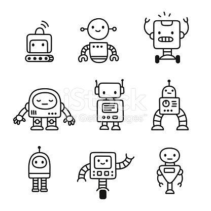Cute little cartoon robots set. Hand drawn doodle style line art….