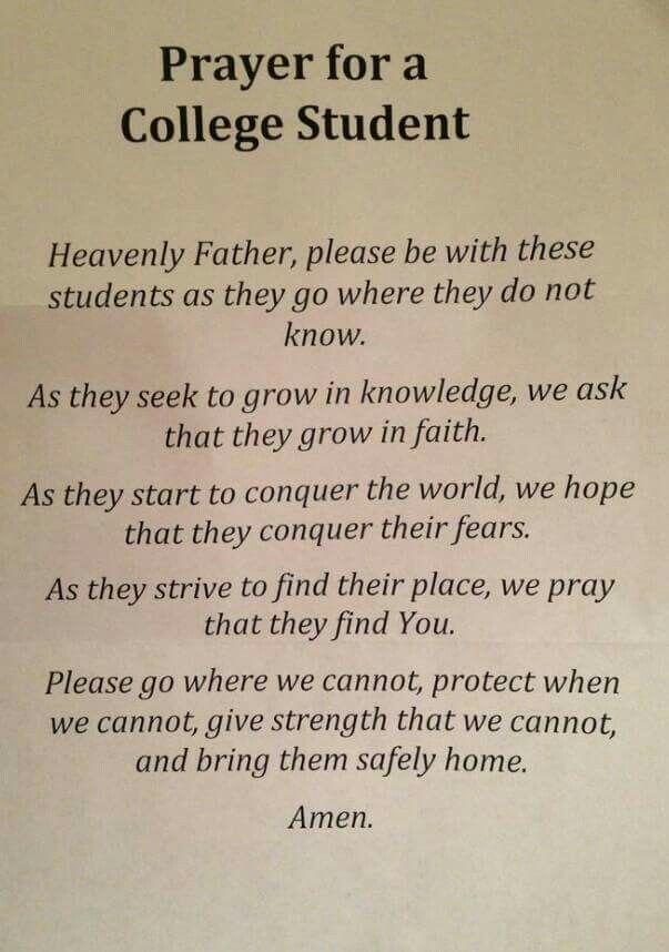 Prayer For College Student Prayer Pinterest Student