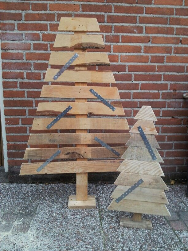 Pallet houte memo bord kerstbomen.