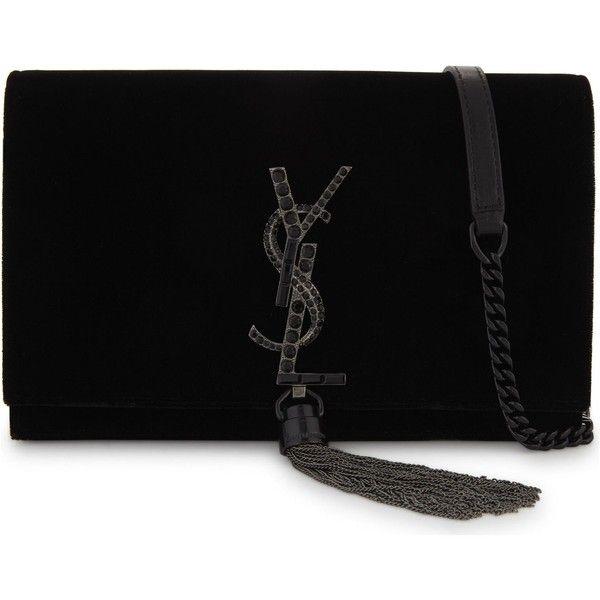 Saint Laurent Kate velvet tassel clutch bag (4,820 PEN) ❤ liked on Polyvore featuring bags, handbags, clutches, yves saint laurent purse, metallic clutches, monogrammed crossbody purse, crossbody purse and cross-body handbag