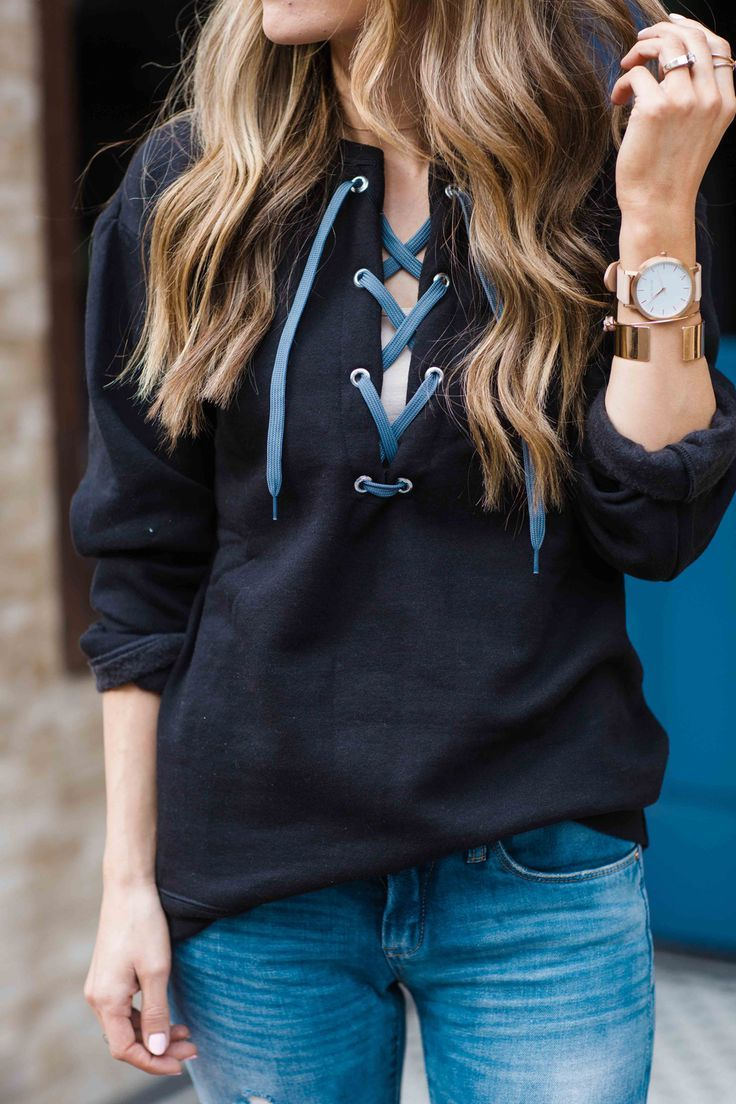 Take a regular sweatshirt and turn it into a trendy lace up top!