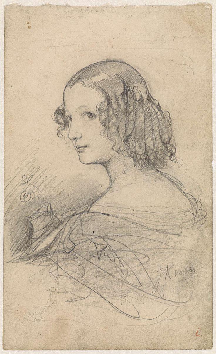 Johan Hendrik Koelman   Portret van een jonge vrouw met pijpenkrullen, naar links, Johan Hendrik Koelman, 1839  