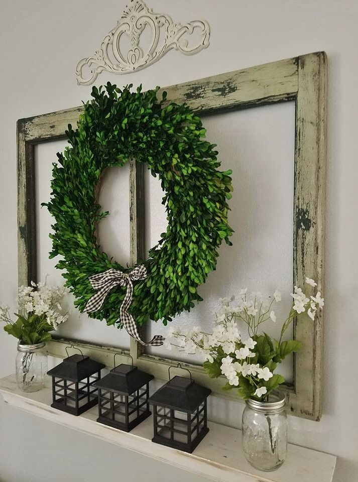 The Quaint Sanctuary    Farmhouse Living Room Wall Decor   Boxwood Wreath  hung on Old window frame over mantelBest 25  Living room walls ideas on Pinterest   Living room  . Frames For Living Room. Home Design Ideas
