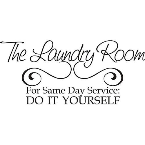 Decorate your laundry room with this 'Laundry Room Same Day Service' decal for a perfect blend of sass and elegance. Designed for simple application to smooth surfaces like walls, glass, tile and more