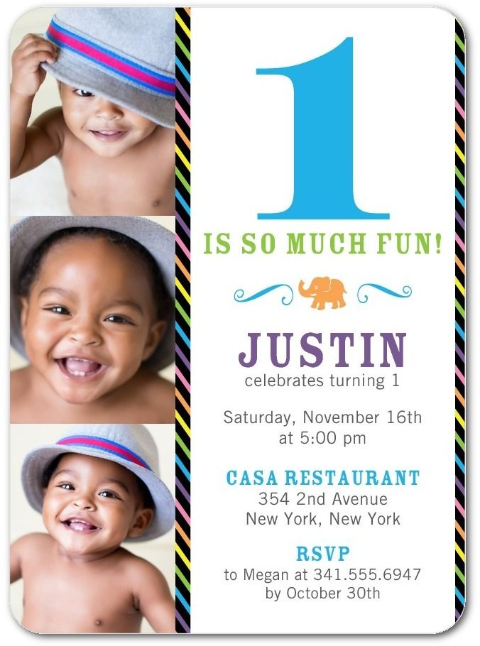 Love the animals on the back! Triumphant Elephant - Birthday Party Invitations in Precious | East Six