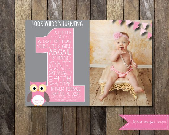 Owl First Birthday Invitation with Picture by PinkStarfishDesigns