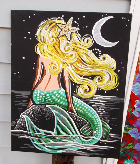 Blonde Mermaid by the Moon black silver gold green by dawntarr