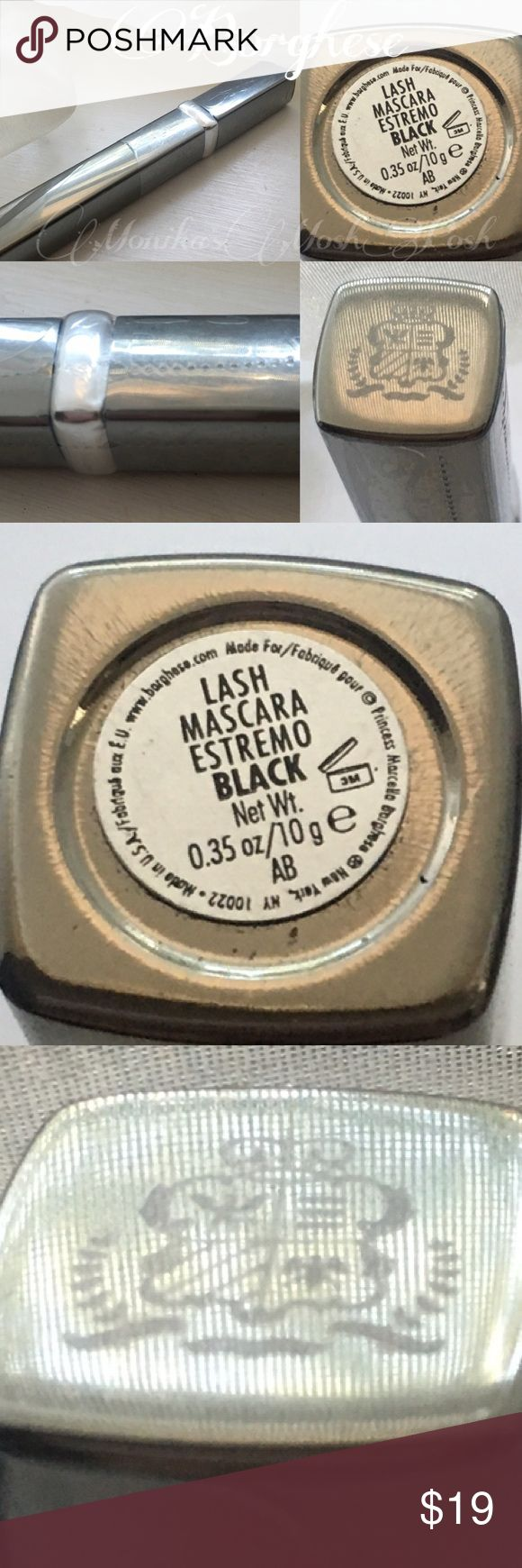 Borghese Lash Mascara Estremo Black Full Size What a remarkable product. I have no issues with clumping. Flaking. Smearing. It comes off easily. Not waterproof. Extreme black. Full size. Unopened. Sealed. Borghese Makeup Mascara