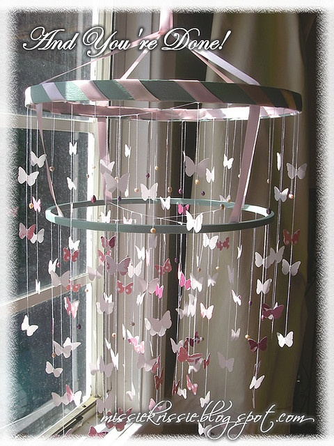 Done! (Tutorial- How to make a Chandelier Style Butterfly Mobile) by Missie Krissie, via Flickr