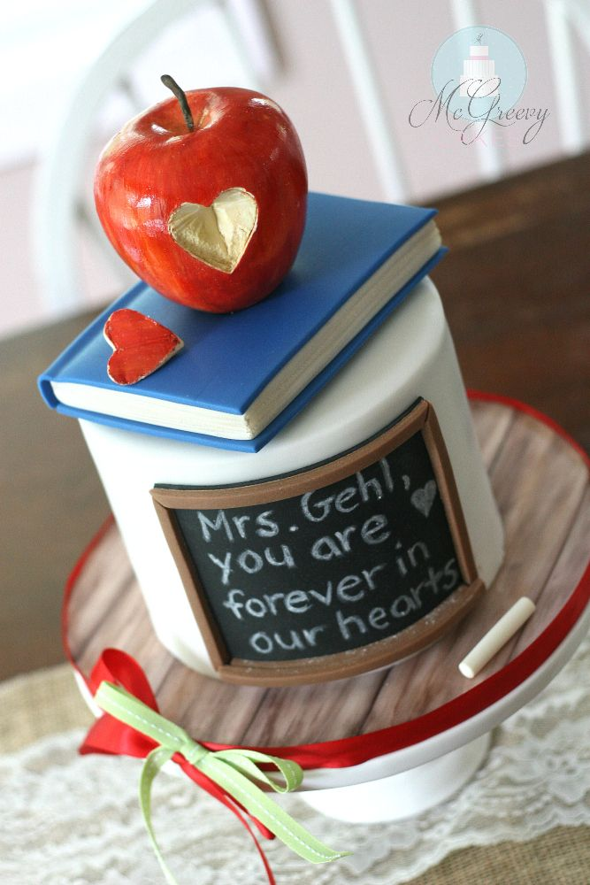 A Teacher Cake - More photos and tips on how to make this teacher cake! ~ McGreevy Cakes