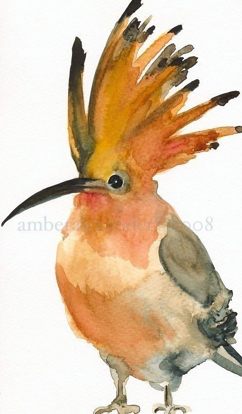 really charming watercolor prints.    Mall Hair Bird Art by amberalexander on Etsy, $20.00        via Patty Flagler