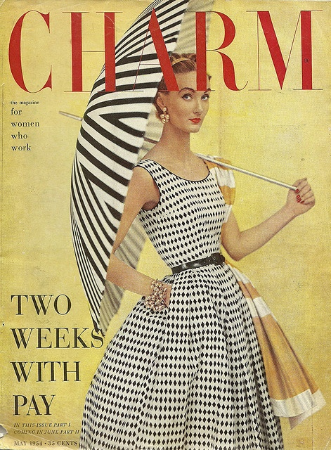 Charm Magazine Cover Fashion Style Vintage 50s 60s Black
