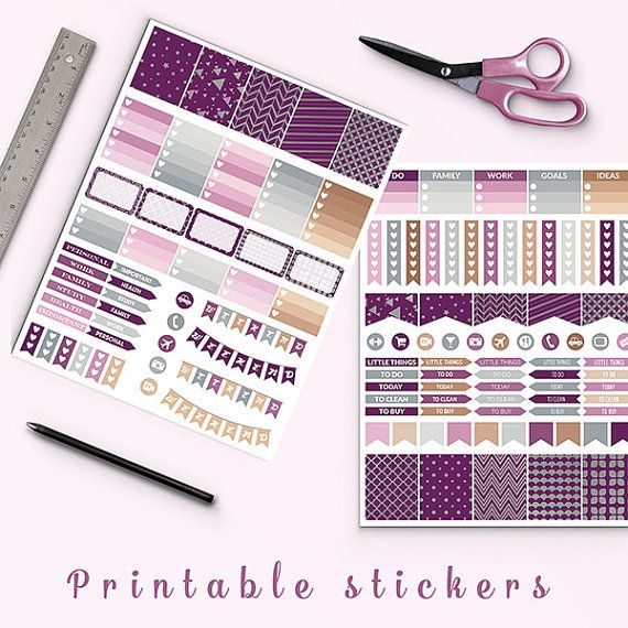 Plum And Silver Planner Stickers -    http://etsy.me/2aPdz0S Mambi plum and silver planner stickers pack is perfect for create handmade planners, stationery, greeting cards, craft items and much more. Fits perfectly for your erin condren vertical life planner and other types of planners like: kikki k, mambi planner, plum planner etc. You may print as many sheets as you would like. You'll receive: 3 PDF files 1 ZIP file with 2 jpg and 2 png images The size of the digital