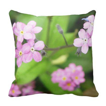 Pretty Pink Summer Flowers on Green Background Throw Pillow - pink gifts style ideas cyo unique
