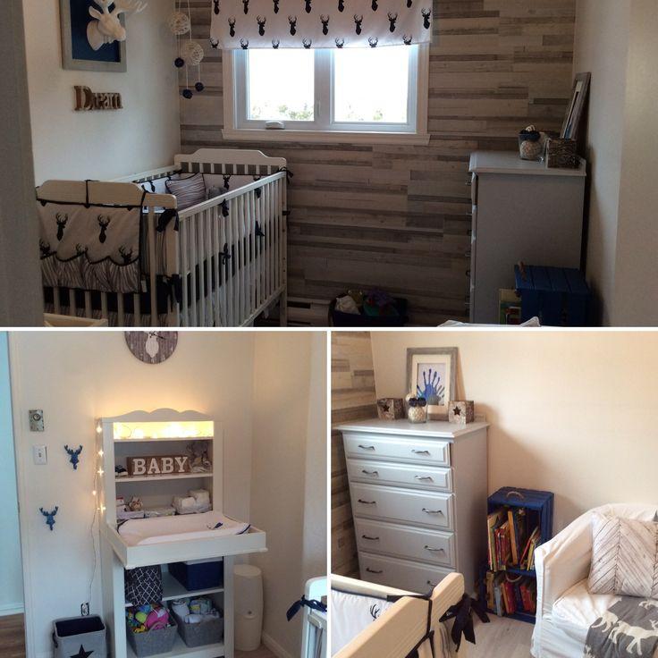 J'adore ma thématique de chambre! Plancher de bois flottant au mur, commode peinte, table à langer de chez ikea, caisses de bois peintes pour la mini bibliothèque et accessoires retouchés pour les besoins du décor.