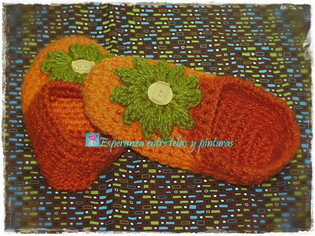 Pantuflas en crochet Naranja y Verde