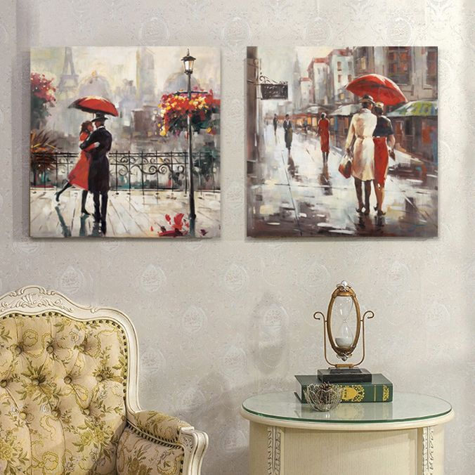 Find More Painting & Calligraphy Information about Umbrella couple walking street painting home decorative wall art canvas art,High Quality art mesh,China art print Suppliers, Cheap art presenter from WHAT ART on Aliexpress.com